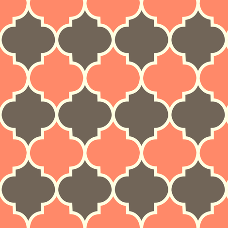 Moorish - coral & dark fabric by kayajoy on Spoonflower - custom fabric