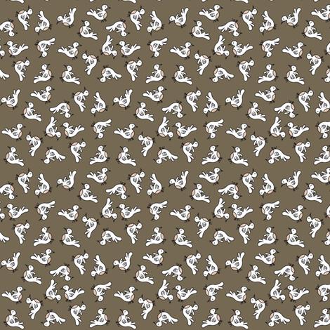 Tiny Birds - dark brown fabric by catru on Spoonflower - custom fabric