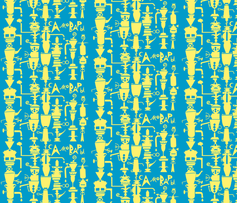 Yellow Samovars fabric by boris_thumbkin on Spoonflower - custom fabric