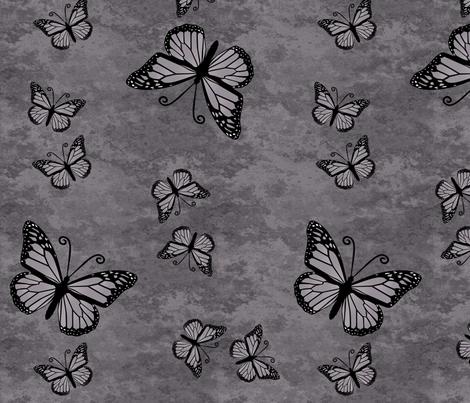 Monarch Butterflies on Gray Granite fabric by laurijon on Spoonflower - custom fabric