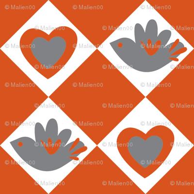 Bird and Heart (dark orange)