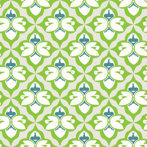 GARDEN DAMASK green/teal
