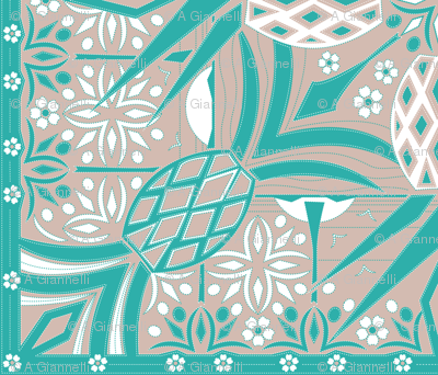 hawaiian pineapples - cheater quilt in turquoise, rose, and white