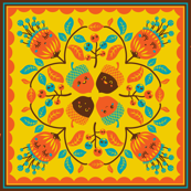 Hawaiian quilt with autumn spirit