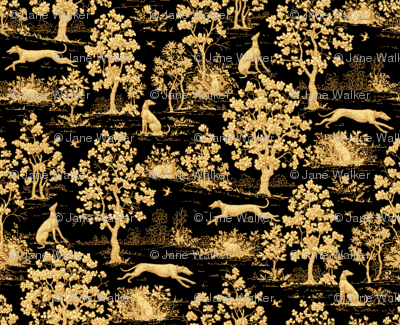 Black Harvest greyhound Toile de Jouy ©2011 by Jane Walker