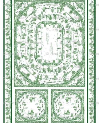 GREEN TOILE NAPKINS AND TABLECLOTH SET 2 yard print