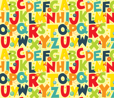 Space Alphabet Letters fabric by jennartdesigns on Spoonflower - custom fabric