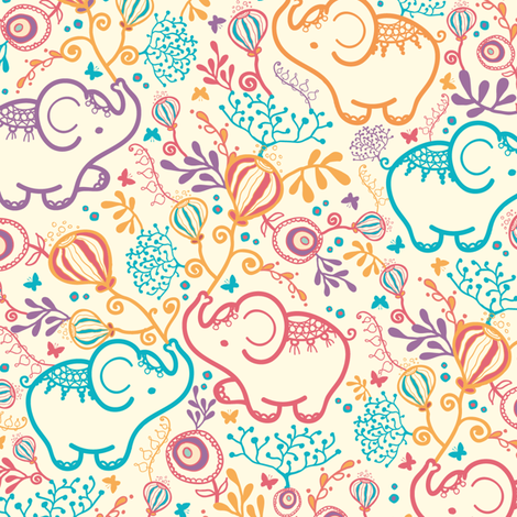 Elephants With Bouquets fabric by oksancia on Spoonflower - custom fabric