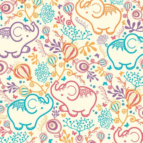 Elephants With Bouquets fabric by oksancia on Spoonflower - custom fabric