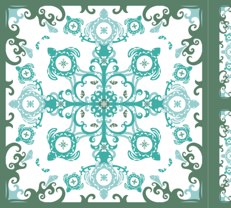 Hawaiian Sea Turtles Cheater Quilt, Sea Foam - © Lucinda Wei fabric by lucindawei on Spoonflower - custom fabric