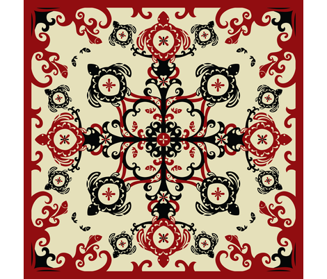 Hawaiian Sea Turtles Cheater Quilt, Red - © Lucinda Wei fabric by lucindawei on Spoonflower - custom fabric
