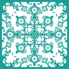 Hawaiian Sea Turtles Cheater Quilt, Teal - © Lucinda Wei