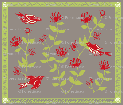 `Apapanes and `ÅŒhi'a Lehua Blossoms.