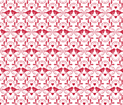 Christmas Time Birds White fabric by cjldesigns on Spoonflower - custom fabric