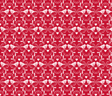 Christmas Time Birds Red fabric by cjldesigns on Spoonflower - custom fabric