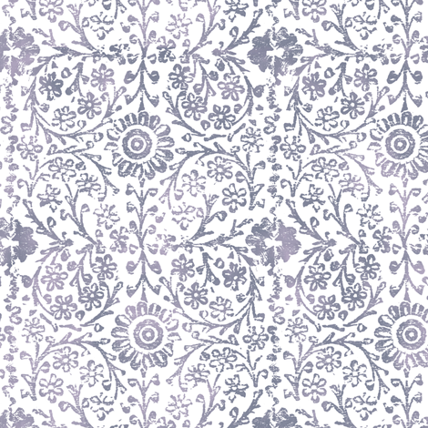 Indian Woodblock in Pewter fabric by forest&sea on Spoonflower - custom fabric