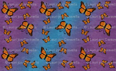 Monarch Butterflies, Color on Purple and Blue Color Granite