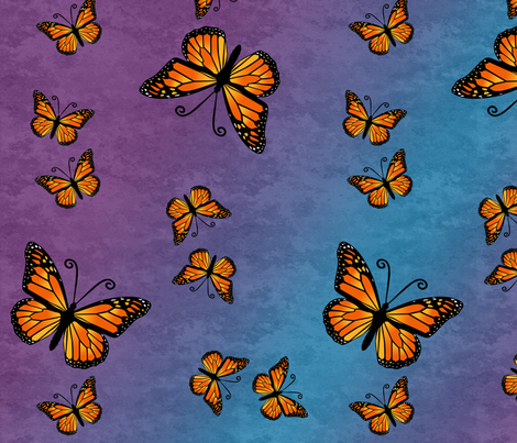 Monarch Butterflies, Color on Purple and Blue Color Granite fabric by laurijon on Spoonflower - custom fabric