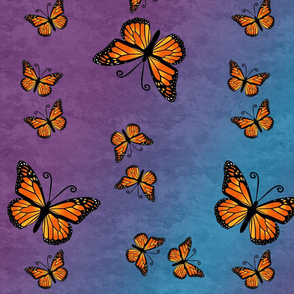 Monarch Butterflies, Color on Purple and Blue Color Granite