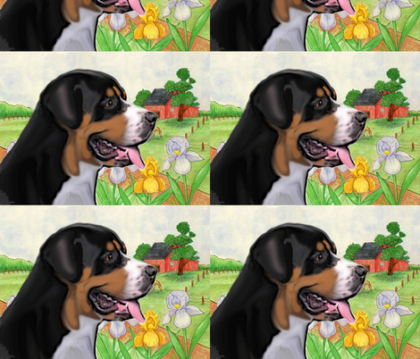 Greater Swiss Mountain Dog Fabric fabric by dogdaze_ on Spoonflower - custom fabric
