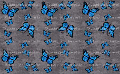 Monarch Butterflies Blue on Gray Granite