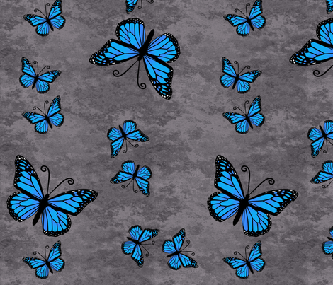 Monarch Butterflies Blue on Gray Granite fabric by laurijon on Spoonflower - custom fabric