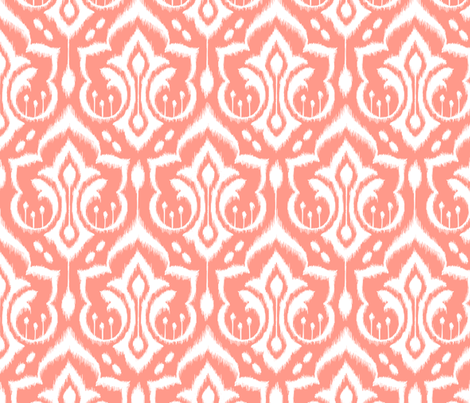 Ikat Damask - Peach Sorbet fabric by pattysloniger on Spoonflower - custom fabric