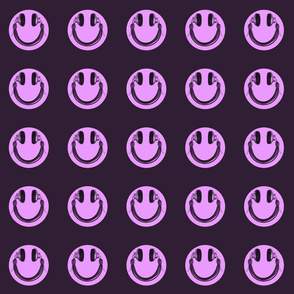 Retro Headphone Happy Face - Purple