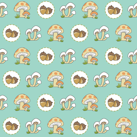 Woodland Snacks - Teal fabric by pattysloniger on Spoonflower - custom fabric