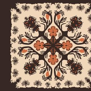 Hawaiian Cheater Quilt Design - Endangered Flora & Bird . . . (please zoom to see detail)