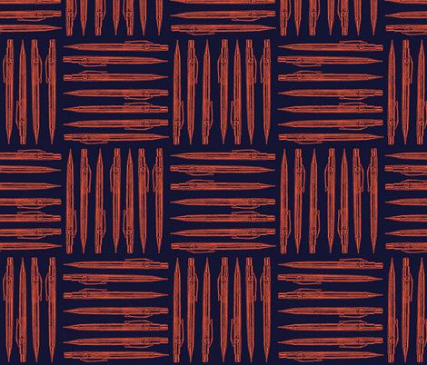 Retro Machanical Pencil - Orange fabric by dorolimited on Spoonflower - custom fabric