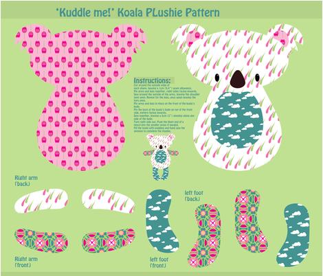 """Kuddle me!"" Koala Plushie Pattern fabric by delsie on Spoonflower - custom fabric"