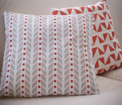 Chevron (Large Scale) in Grey and Red