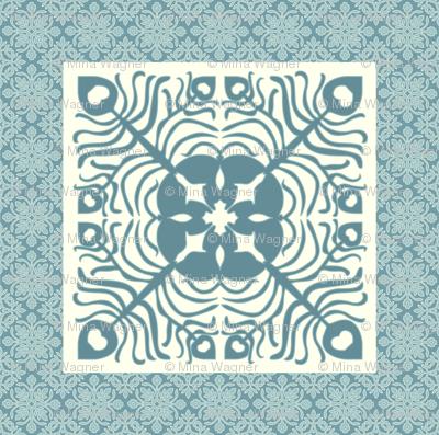Peacock Feather & Butterfly Hawaiian pillow square_BLUE-GRAY_AQUA_CREAM