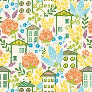 Houses Among Flowers