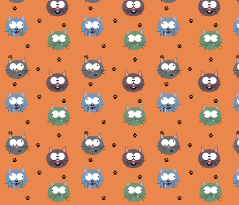 Silly Kitties fabric by forgotten_fortune on Spoonflower - custom fabric