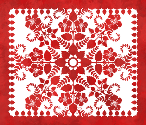 Akahai Quilt (red colorway) fabric by jennartdesigns on Spoonflower - custom fabric