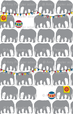 Circus Elephants (Gray) || animals whimsical balls flags baby nursery children bunting