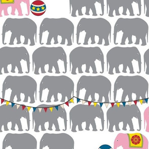 Circus Elephants (Gray & Pink) || animals whimsical balls flags baby nursery children bunting