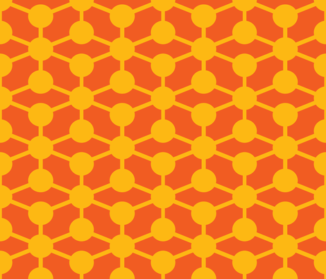 simple molecule in yellow and orange fabric by jenr8 on Spoonflower - custom fabric