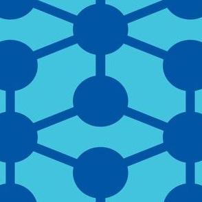 simple molecule in blue