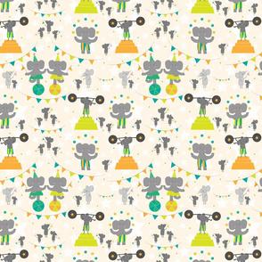 Trumpet and Squeak Circus (orange/green)
