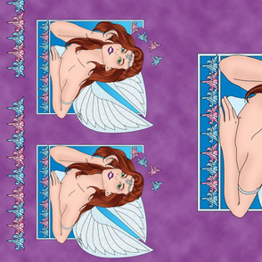 Art Nouveau Lily Fairy on Purple Background