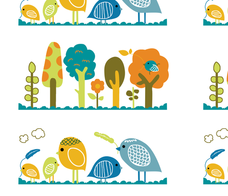 birds and trees fabric by blingmoon on Spoonflower - custom fabric