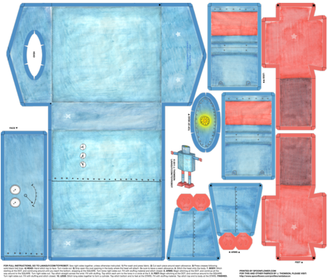 Robot Softie Cut-n-Sew fabric by seidabacon on Spoonflower - custom fabric