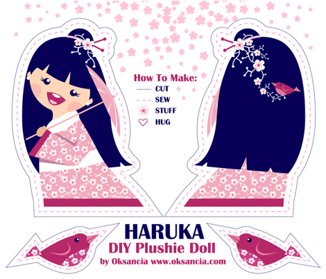 Haruka DIY Plushie Doll Kit fabric by oksancia on Spoonflower - custom fabric