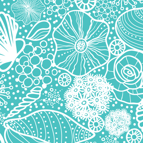 Seashells Line Art fabric by oksancia on Spoonflower - custom fabric
