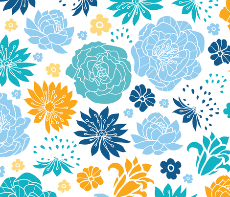 Blue and Yellow Flower Garden fabric by oksancia on Spoonflower - custom fabric