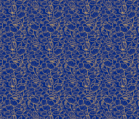 Blue Kimono Garden fabric by oksancia on Spoonflower - custom fabric