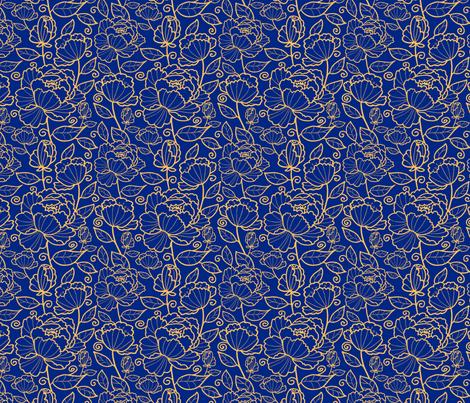 Blue Kimono Garden fabric by oksancia on Spoonflower - custom fabric